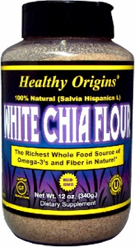White Chia Flour (Ground) by Healthy Origins - 12 oz.