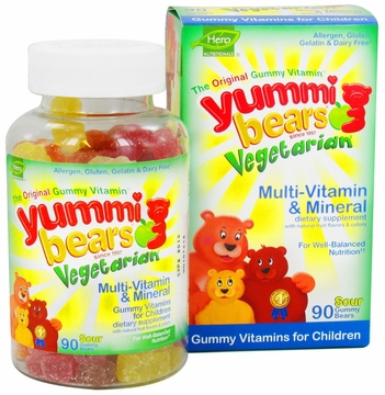 Yummi Bears Children's Vegetarian Multi-Vitamin and Minerals by Hero Nutritional Products - 90 Sour Gummies