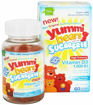 Yummi Bears Children's Vitamin D3 1000 IU by Hero Nutritional Products - 60 Gummies