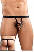 Animal Burnout Leopard Print Velvet Pouch G-String