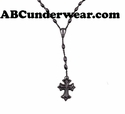 Black Rosary Necklace Cross