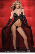 Chiffon Beaded Trim Gown w G-String
