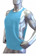 Cutout Muscle Shirt Tank - Aquatic Turquoise Blue