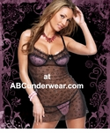 Flocked Heart Chemise and G-String