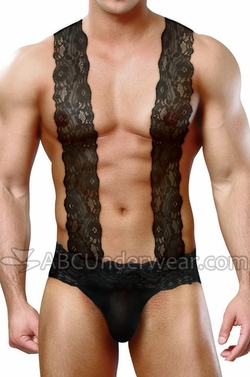 Lace Suspenders Mens Sheer Sling Thong Underwear