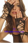 Lace Up Fishnet Gloves