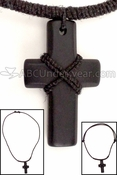 Leather Cord Monk Cross Necklace