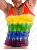 Mens Rainbow Deep Cut Tie Dye Tank Top