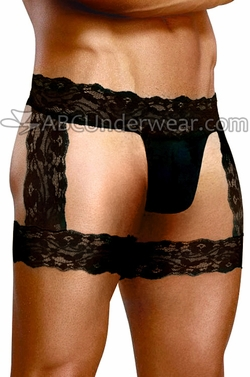 Mens Sheer Lace Garter Thong Trunk  Underwear