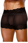 Mens Split Open Back Sheer Lace Short Underwear