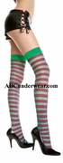 Opaque stripe thigh hi Green-Purple