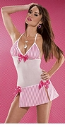 Pink and White Pinstripe Lycra Mesh Dress