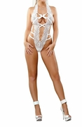 Plus Size Bridal Bands of Lace V-Teddy - White