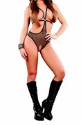 Plus Size Fishnet Cupless & Crotchless Romper - Black