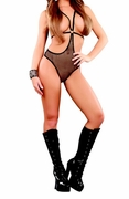 Plus Size Fishnet Cupless Romper - Black