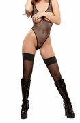 Plus Size Fishnet Cupless Teddy - Black