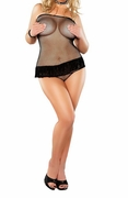 Plus Size Fishnet Fringe Tube Dress & G-string - Black