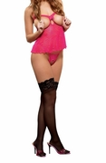Plus Size Hypnotic Swirl Cupless & Crotchless Baby Doll & G-string - Pink