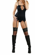 Plus Size Midnight Bound Keyhole Merry Widow & G-String - Black