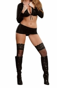 Plus Size Midnight Bound Long Sleeve Crop Top, Skirt & G-String - Black