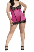 Plus Size Sequin Lace Chemise & G-String - Pink