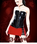 Red & Black Velvet/Wetlook Skirt