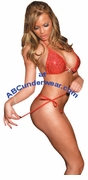 Red Lingerie Rhinestone Set with Tie Sides