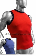 Ribbed Cotton Contrast Muscle Shirt