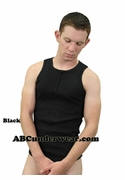 Ribbed Henley 5 Button Tank