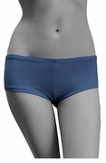 Womens Cotton Spandex Brief Short - Medium Blue