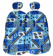 Hawaii car seat cover<br>Separated Headrest<br>#40 Blue tapa <br>(quilted)