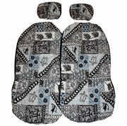 Hawaii car seat cover<br>Separated Headrest, Gray Tapa <br> (quilted)