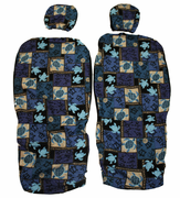 Hawaii Seat Cover with Separated Headrest<br>139  Blue Sea Turtle(Non-quilted)