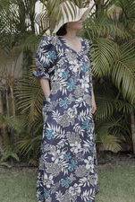 Long Muumuu<br> Blue flower, XL
