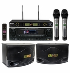 Acesonic AM-148 320W Amplifier & BMB CSN-300 Speaker Package with Wireless Mics