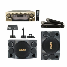 BMB Pro 600W Mixing Amplifier and Speaker System with Dual UHF Mics