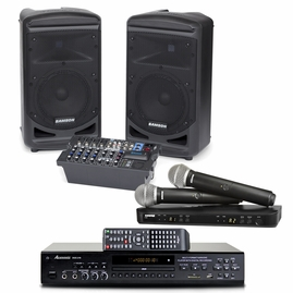 Samson XP800 PA System, Acesonic DGX-218 Karaoke Player & Shure BLX288/PG58 Wireless Microphone Package