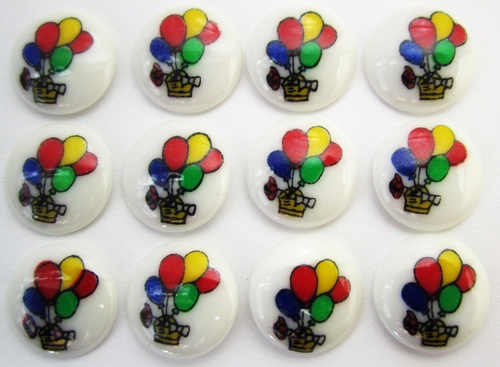12 Vintage Children's Buttons w/Balloons