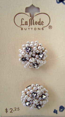 2 Vintage Pearl & Rhinestone Buttons