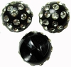 3 Vintage Rhinestone Ball Buttons