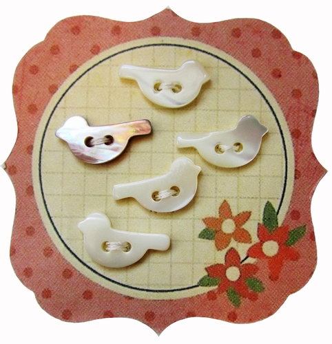 5 Vintage Mother of Pearl Bird Shaped Buttons