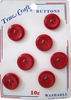 7 Candy Apple Red Vintage Buttons