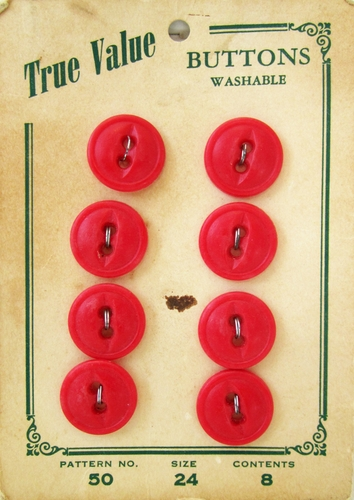8 Vintage Red Plastic Buttons
