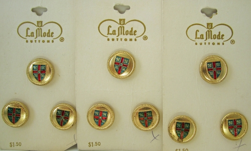 9 Vintage Coat Of Arms Buttons
