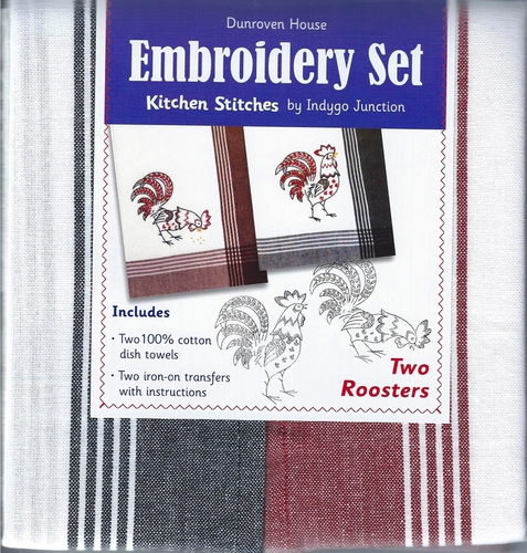 "Dunroven House  ""Two Roosters"" Embroidery Set"