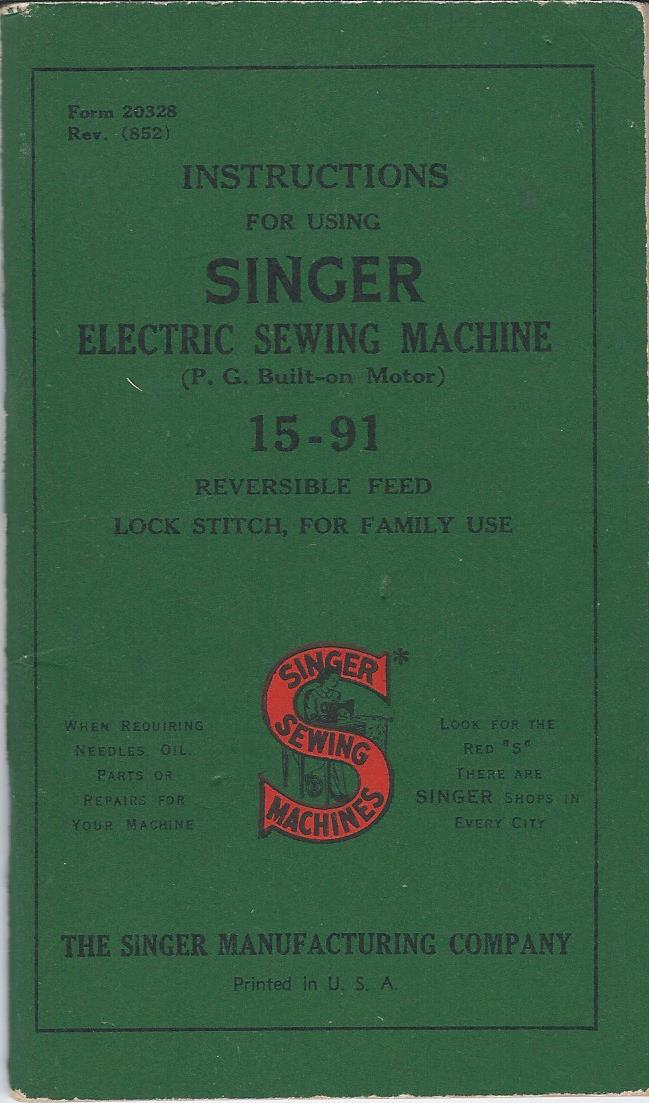 singer electric sewing machine 15 91