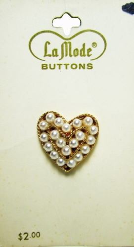 Vintage Heart Buttons w/Pearls