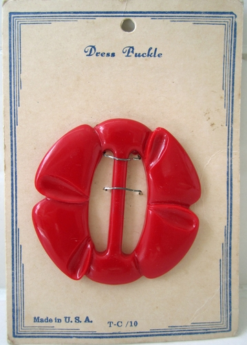 Vintage Red Plastic Belt Buckle