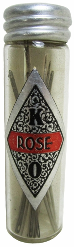 "Vintage ""Rose"" Glass Needle Tube"