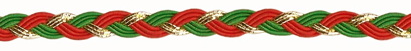 Vintage Trim-  Red,Green & Metalic Gold Braid By The Yard